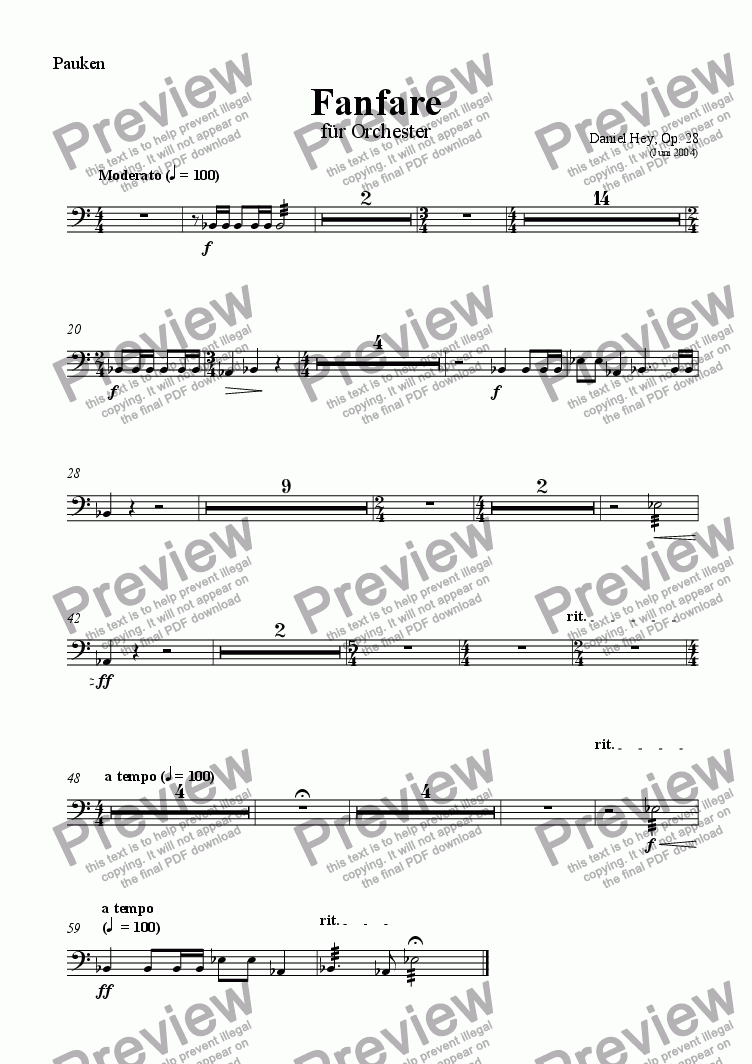 page one of the Timpani part from Fanfare for orchestra