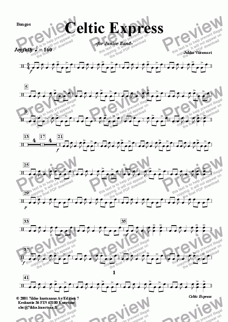 page one of the Bongos part from Celtic Express (wind band)