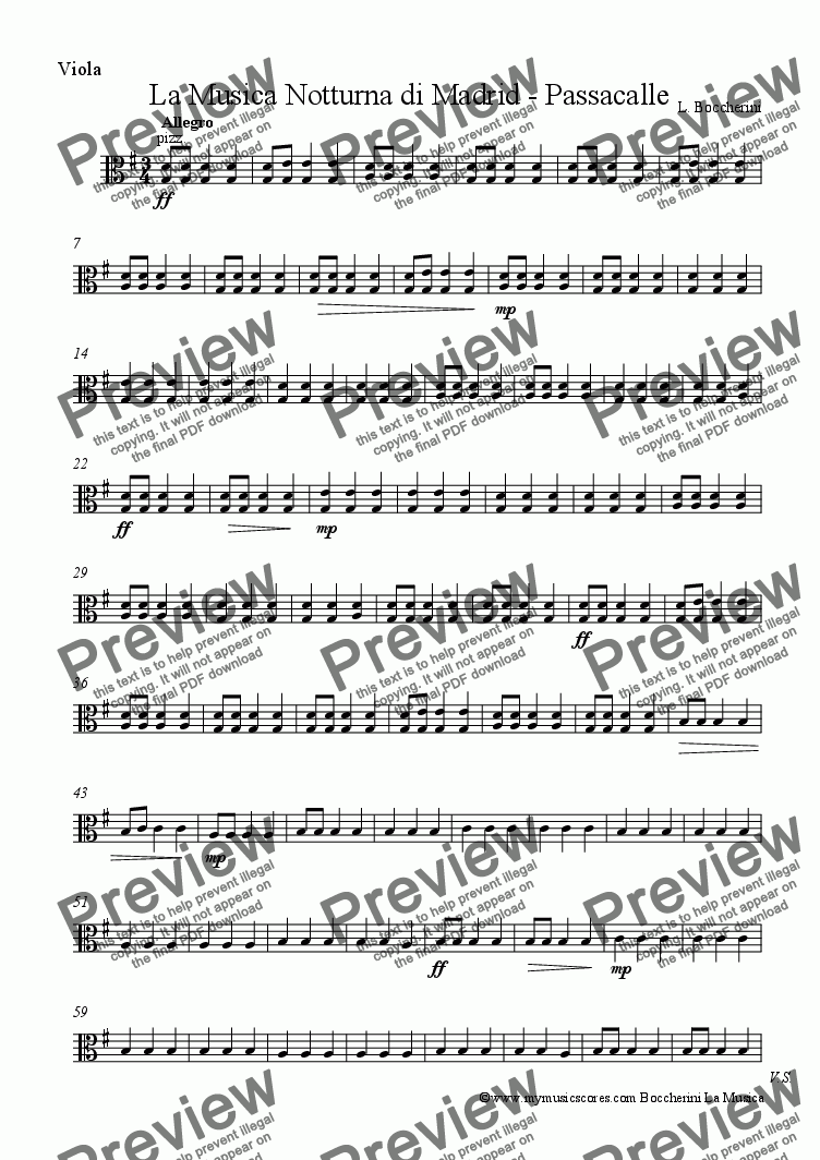 page one of the Viola part from La Musica Notturna di Madrid - Passacalle