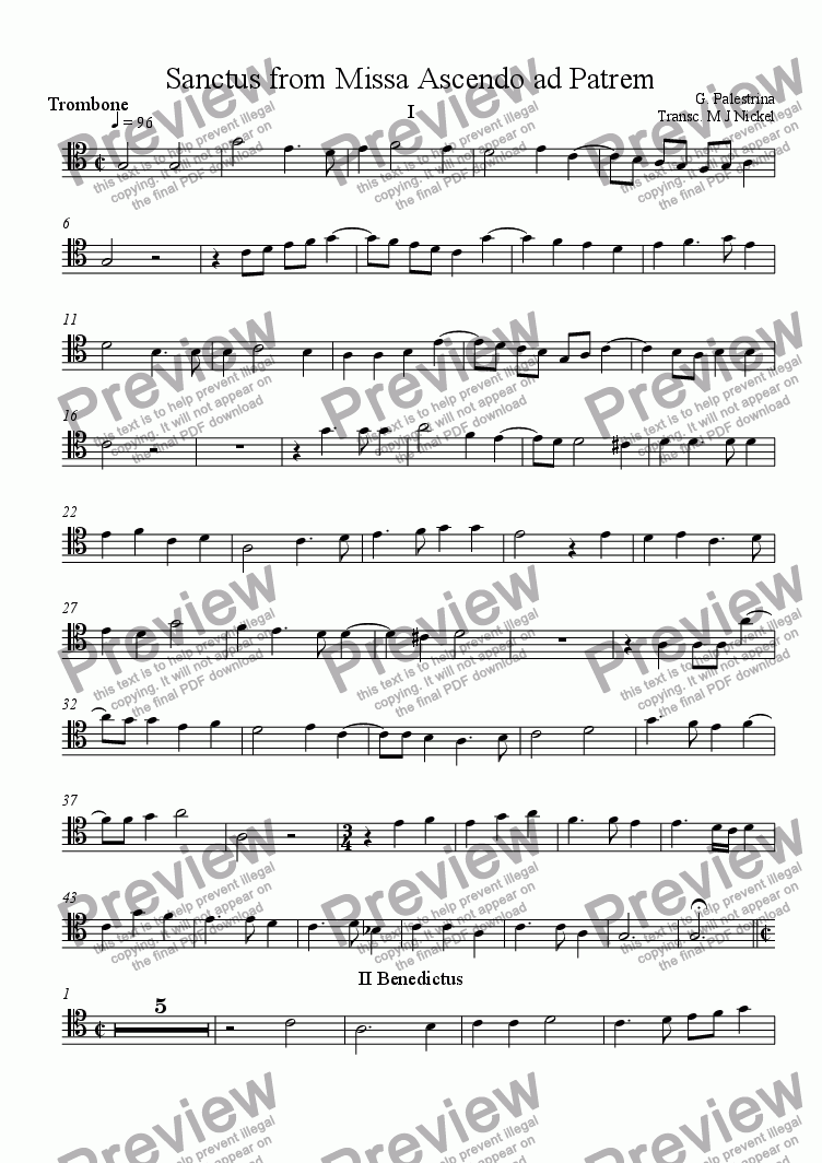 page one of the Trombone part from Sanctus from Missa Ascendo ad Patrem