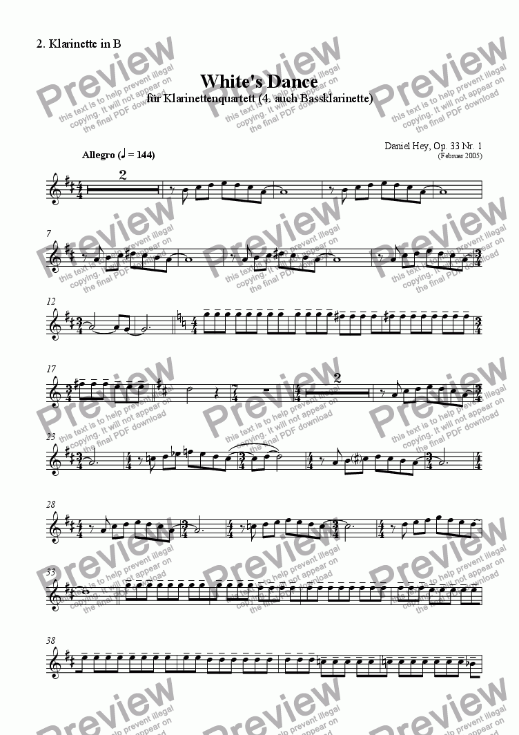 page one of the Clarinet 2 part from White's Dance