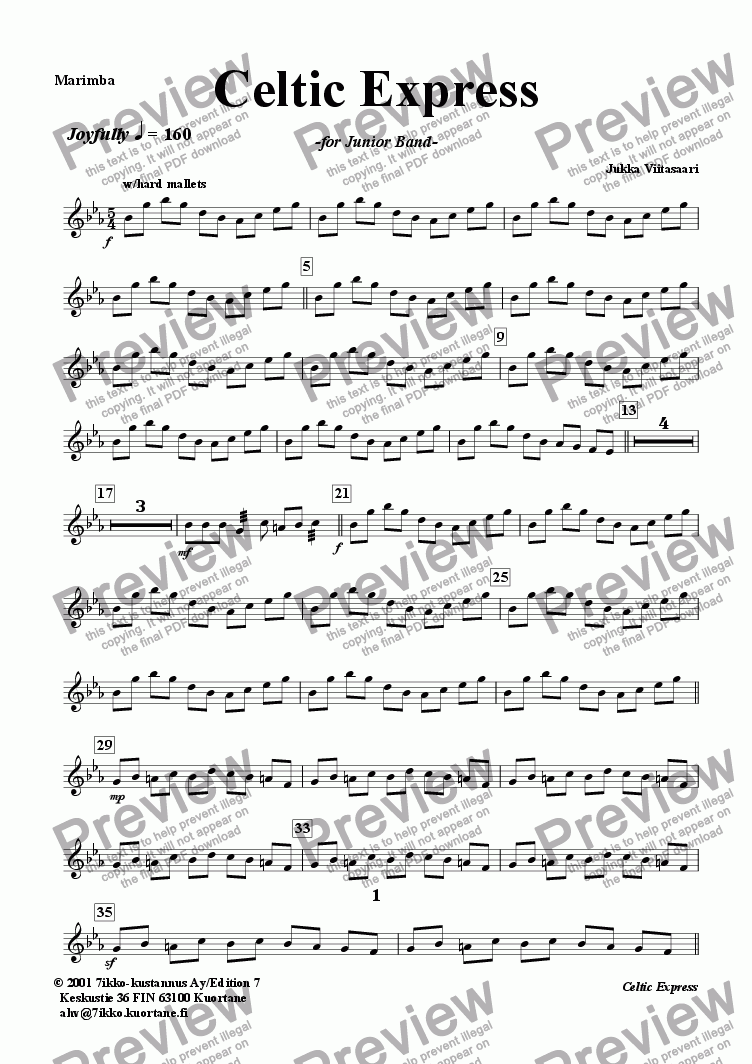 page one of the Marimba part from Celtic Express (wind band)
