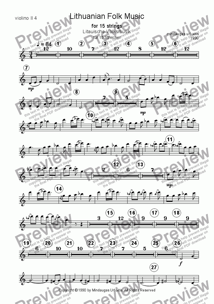 page one of the violin II 4 part from Lithuanian Folk Music