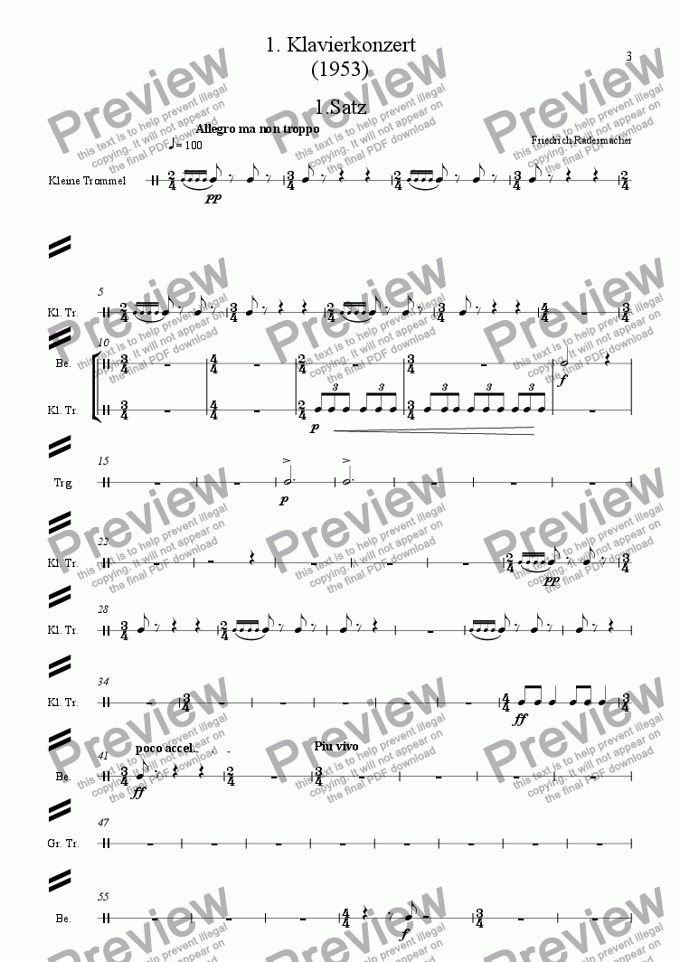 page one of the Schlagzeugpartitur part from !. Klavierkonzert
