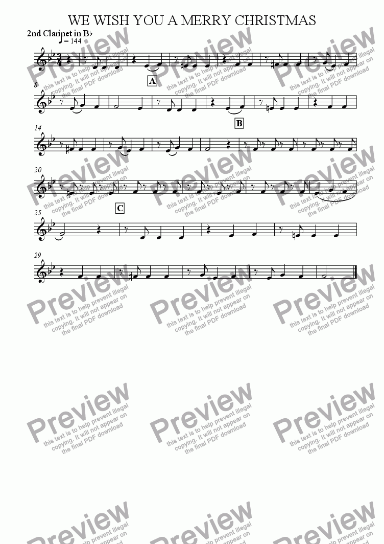 page one of the 2nd Clarinet in Bb part from We Wish You A Merry Christmas (Clarinet Quartet)