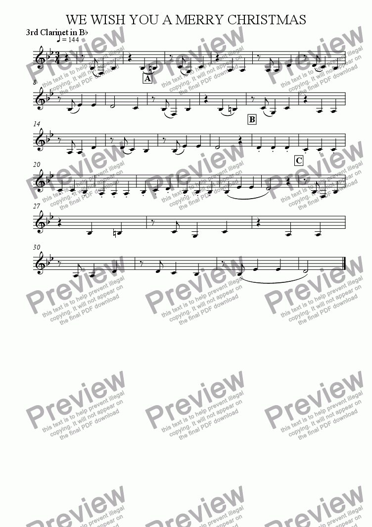 page one of the 3rd Clarinet in Bb part from We Wish You A Merry Christmas (Clarinet Quartet)