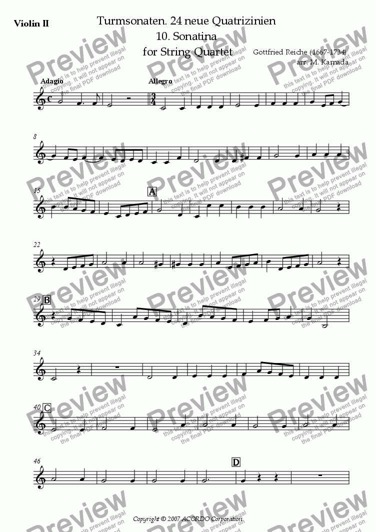 page one of the Violin II part from Turmsonaten. 24 neue Quatrizinien 10. Sonatina for String Quartet
