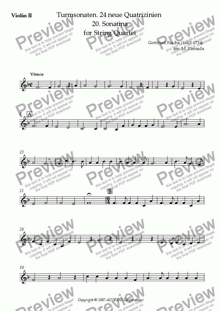 page one of the Violin II part from Turmsonaten. 24 neue Quatrizinien 20. Sonatina for String Quartet