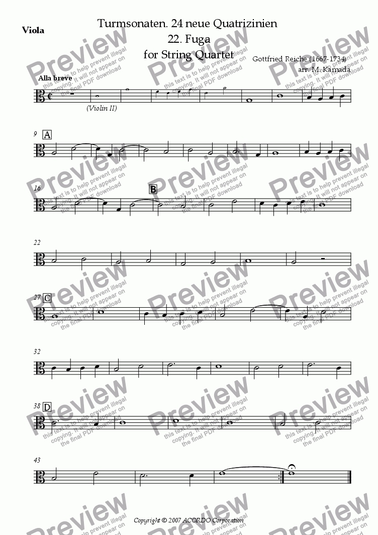 page one of the Viola part from Turmsonaten. 24 neue Quatrizinien 22. Fuga for String Quartet