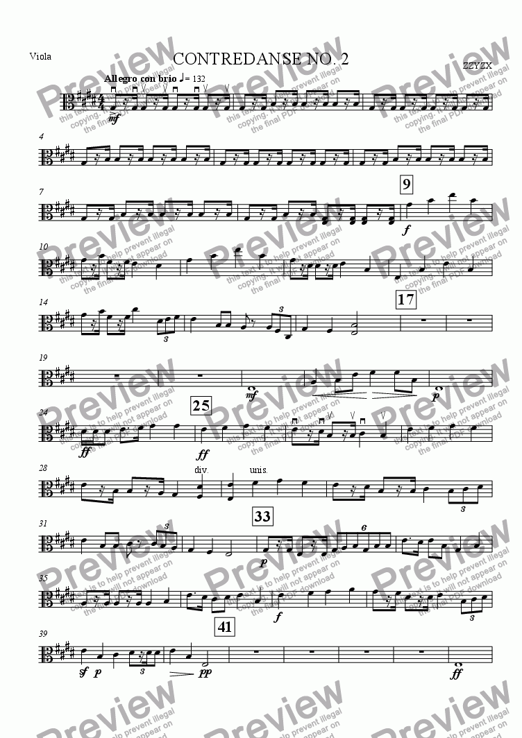 page one of the Viola part from Contredanse No. 2