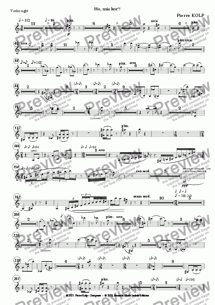 page one of the Violin 3 part from Ho, mia kor!