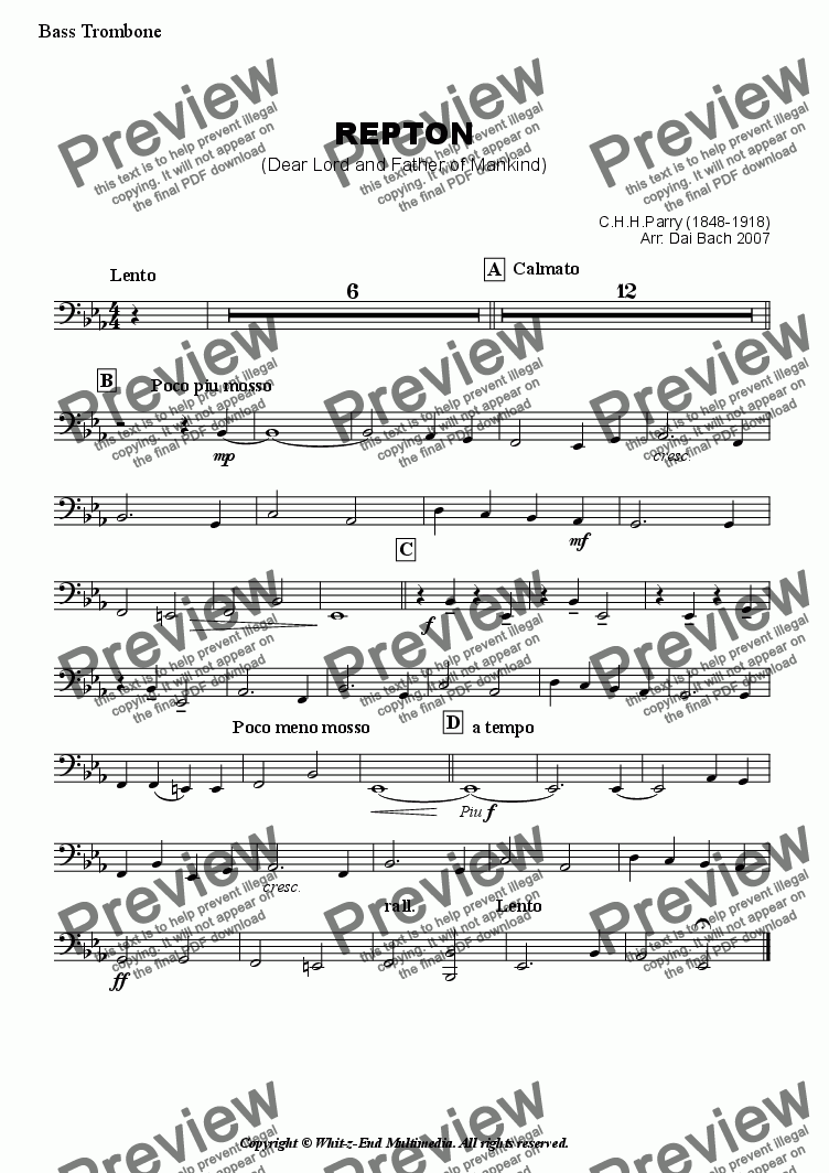 page one of the Bass Trombone part from Repton (Hymn Tune)
