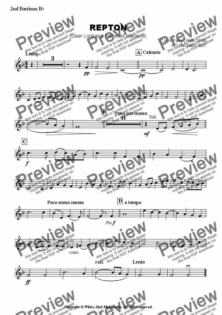 page one of the Second Baritone part from Repton (Hymn Tune)