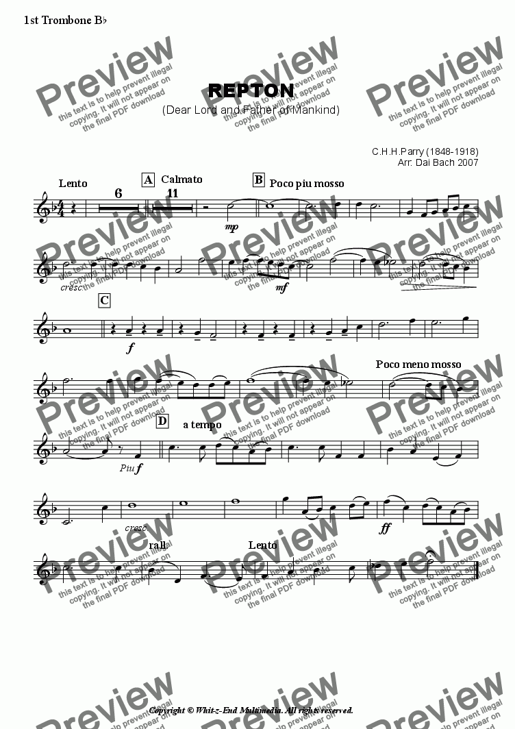 page one of the First Trombone part from Repton (Hymn Tune)