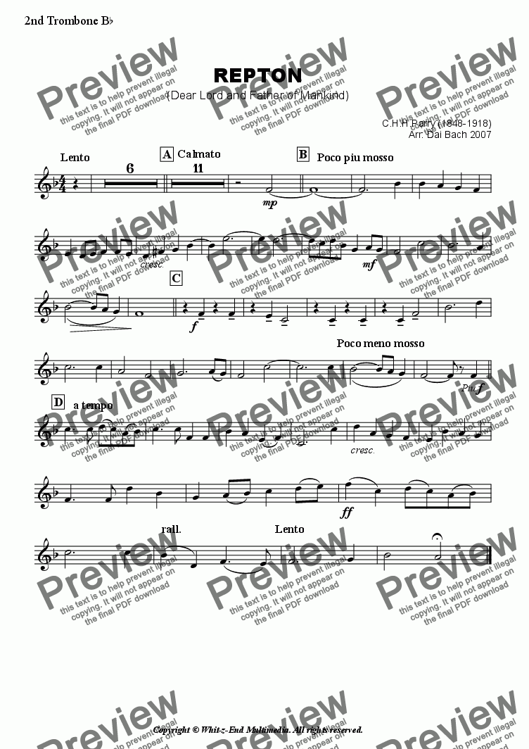 page one of the Second Trombone part from Repton (Hymn Tune)