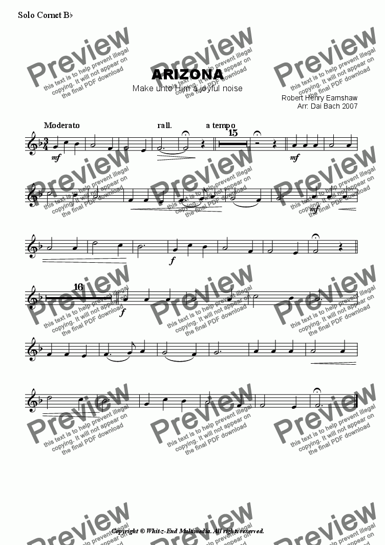 page one of the Solo Cornet part from ARIZONA (Hymn Tune)