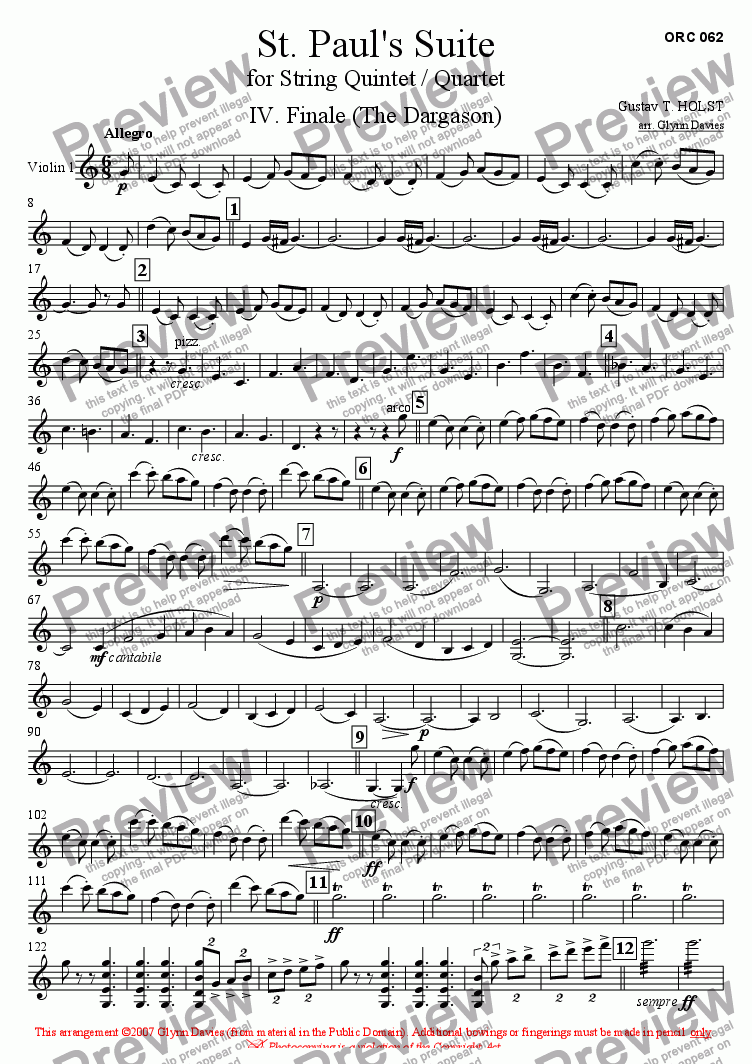 page one of the Violin 1 part from St. Paul's Suite - 4. Finale (The Dargason)