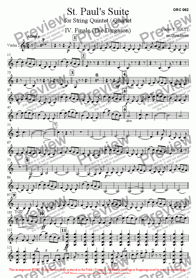 page one of the Violin 2 part from St. Paul's Suite - 4. Finale (The Dargason)