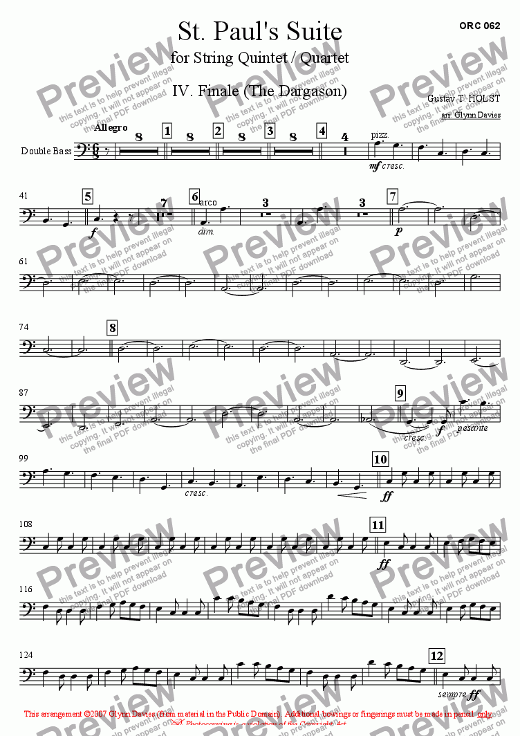 page one of the Bass part from St. Paul's Suite - 4. Finale (The Dargason)