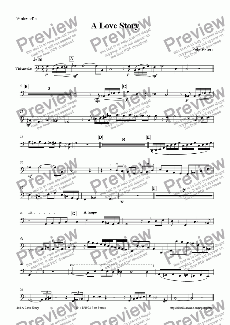 page one of the Violoncello part from A Love Story [String 4tet + piano]