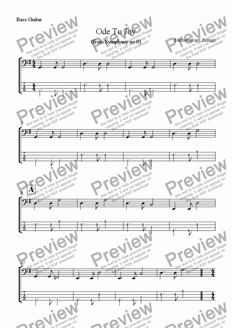 page one of the Bass Guitar TAB part from 2 Classical Melody Multilevel Classroom Arrangements: Beethoven Ode to Joy, Dvorak Largo (New World Symphony)