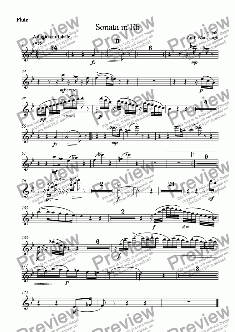 page one of the Flute part from Piano sonata in E flat, no 59 (arranged for wind quintet): second movement