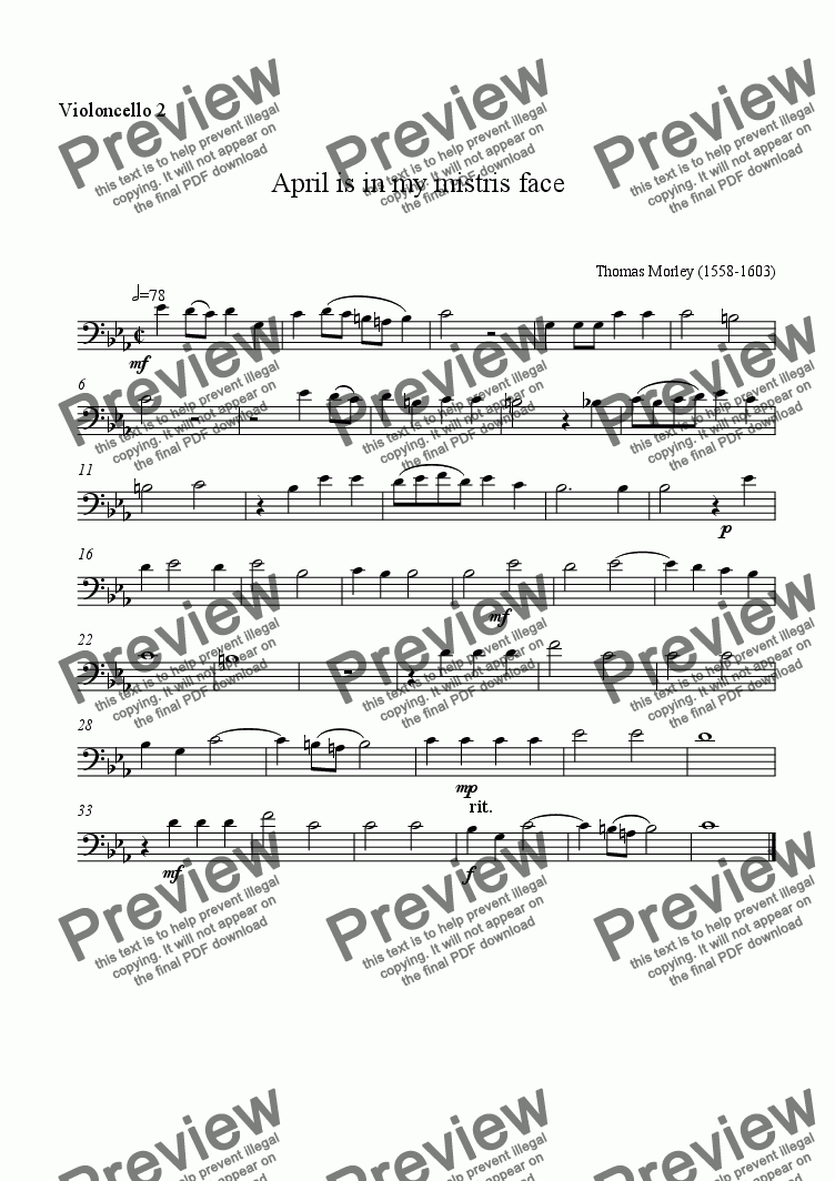 page one of the cello2 part from April for celli
