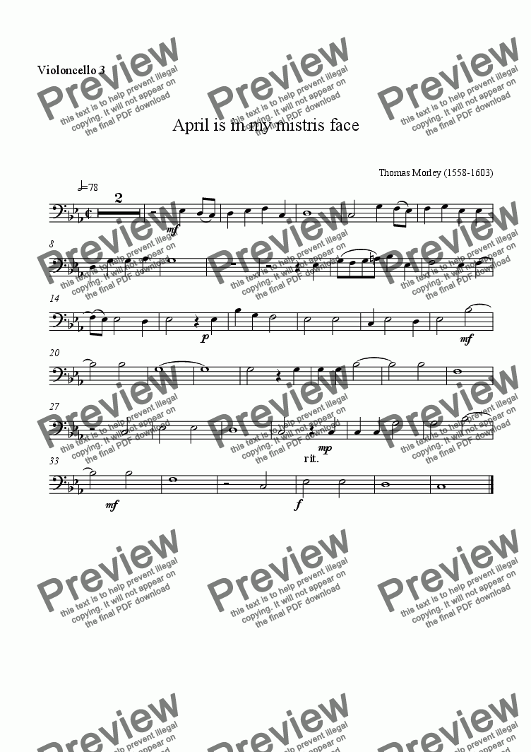 page one of the cello3 part from April for celli