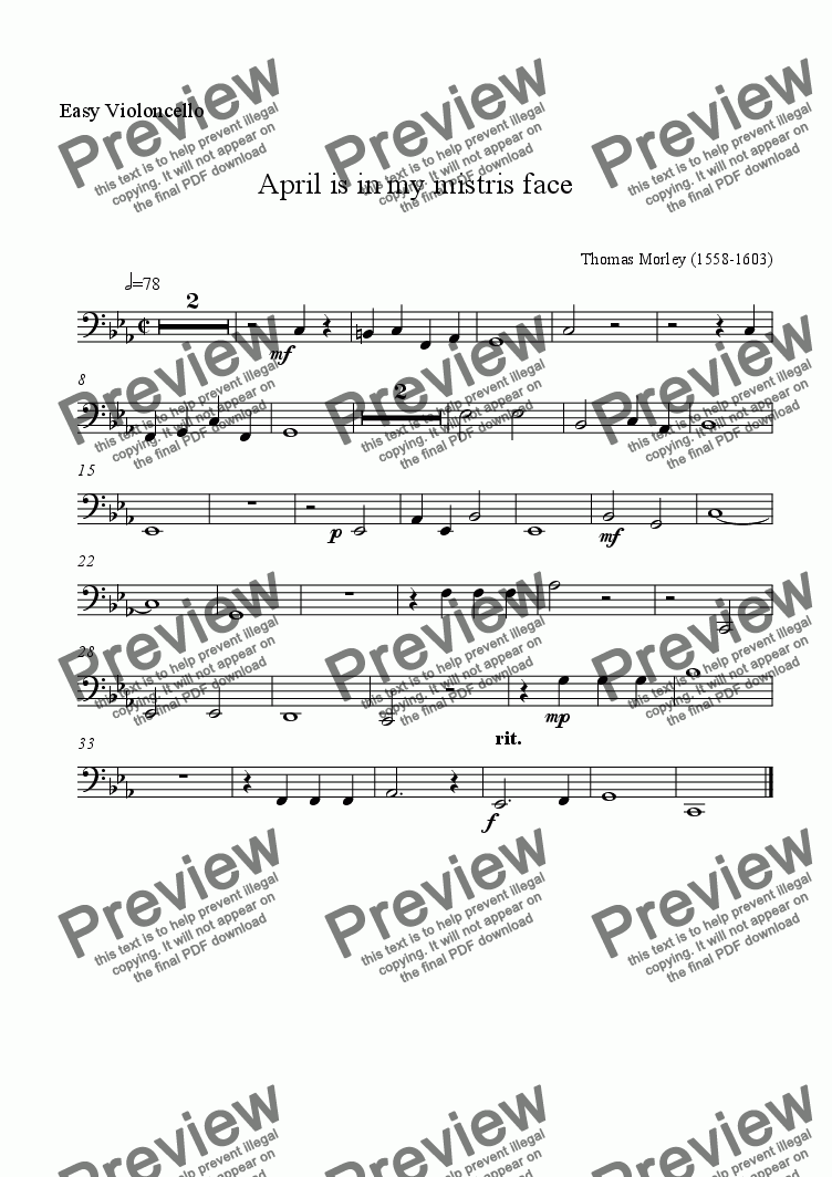 page one of the easy cello part from April for celli