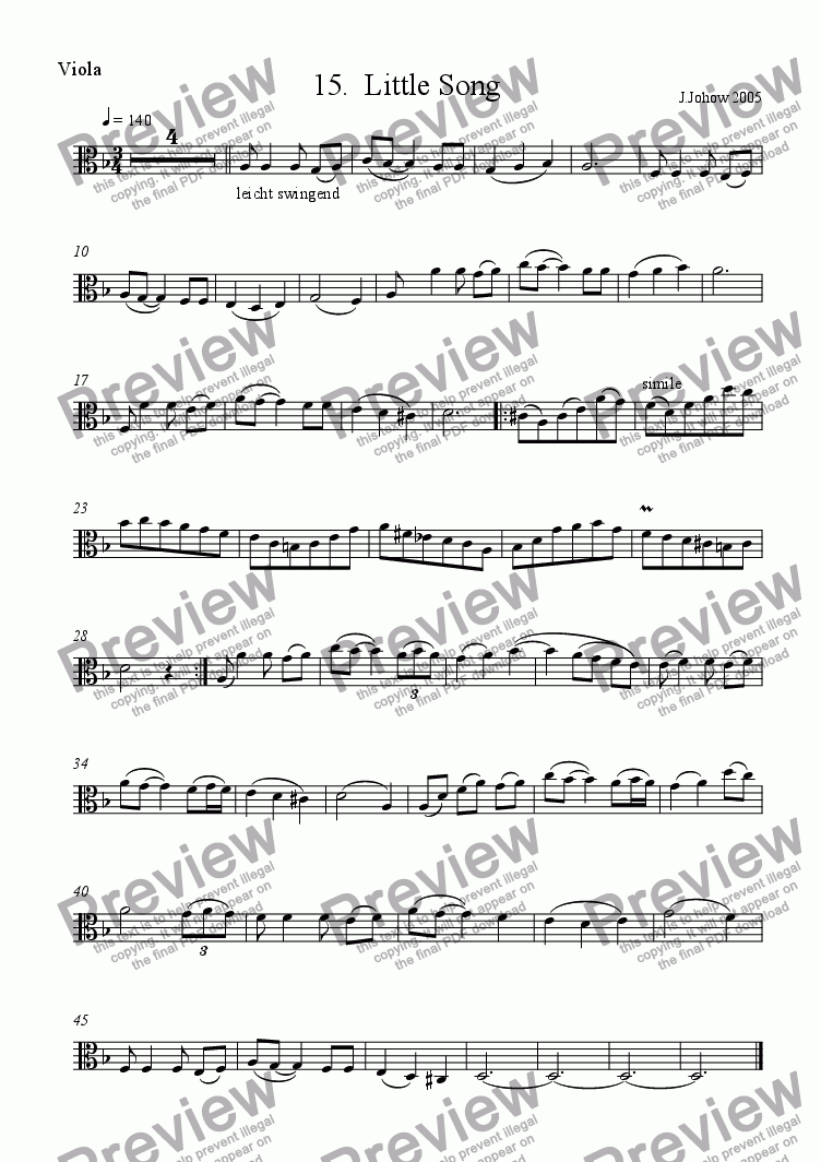 page one of the Vla part from Viola Book 15 (Little Song)