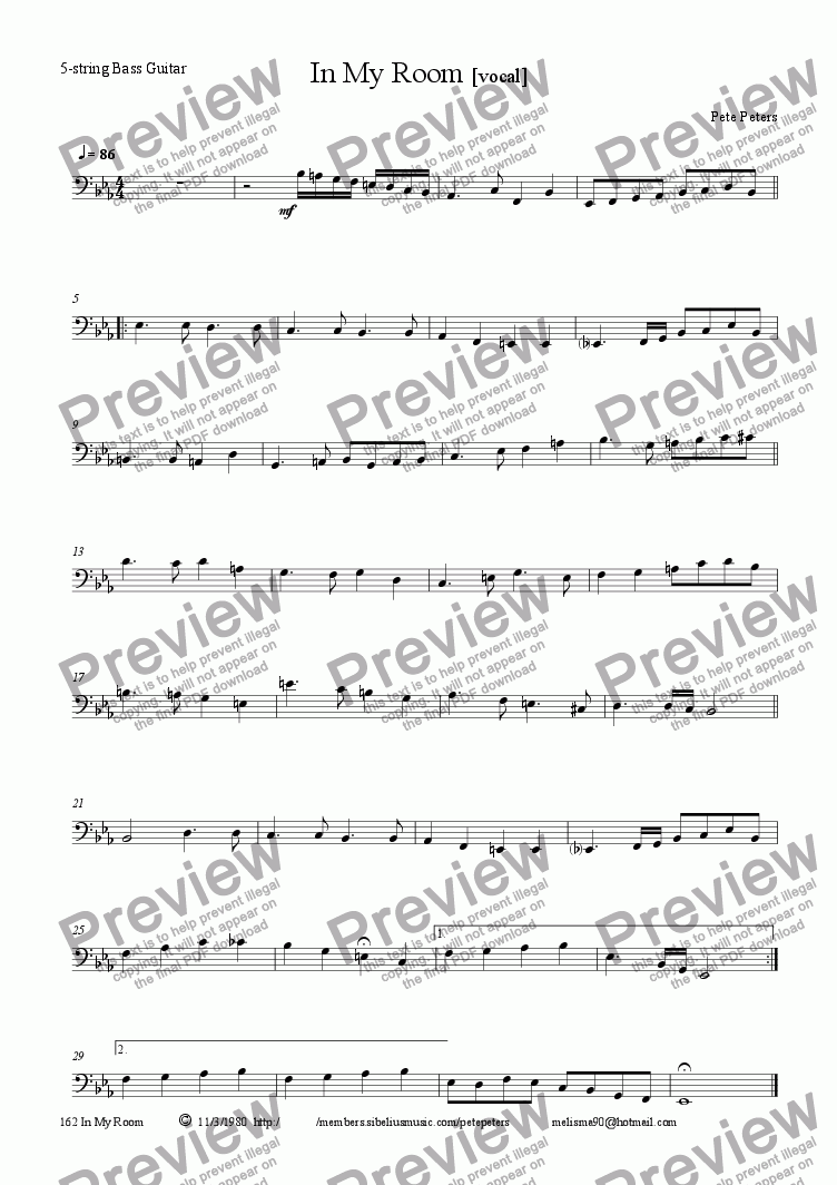page one of the Bass part from In My Room [Pop ballad  vocal     WW   7tet]