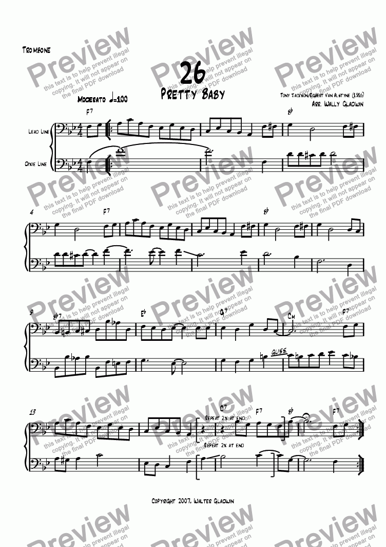 page one of the Trombone part from Dixiechart 26. Pretty Baby