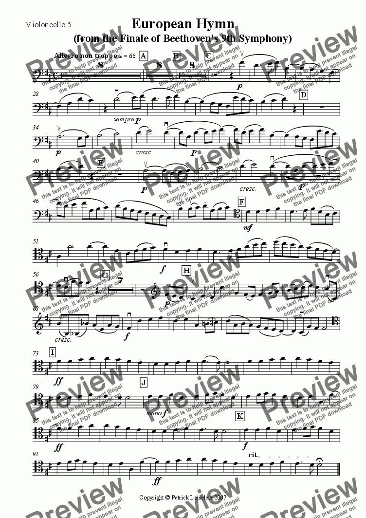page one of the Cello 5 part from Beethoven: European Hymn (from 9th Symphony) for 8 cellos