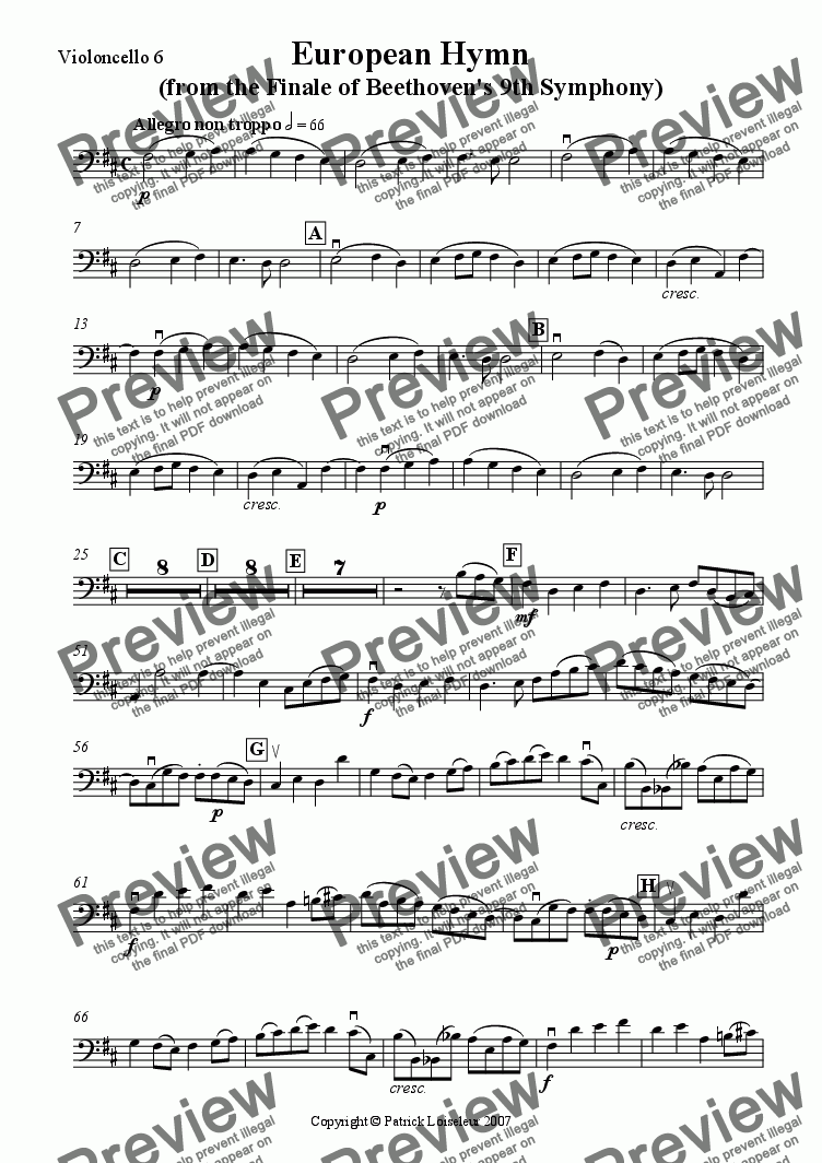 page one of the Cello 6 part from Beethoven: European Hymn (from 9th Symphony) for 8 cellos