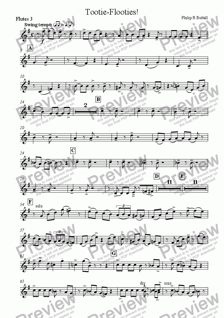 page one of the Flute 3 part from Tootie-Flooties! (Flutes/Recorders & Piano)