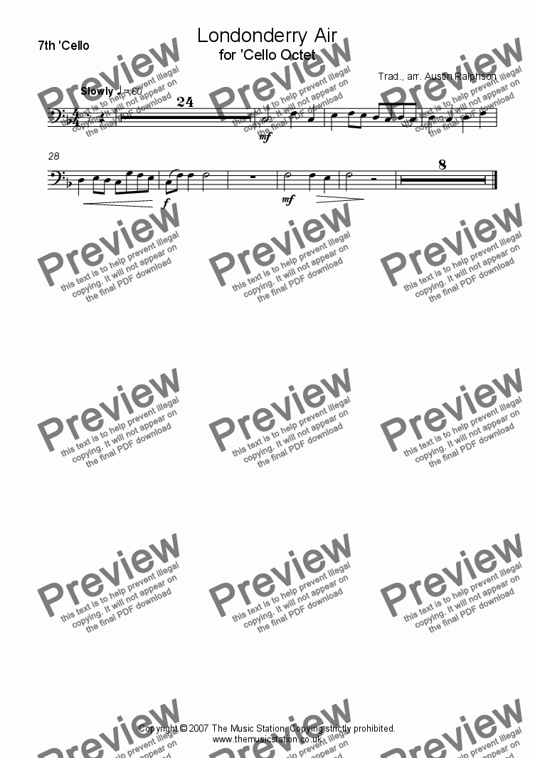 page one of the 'Cello 7 part from Londonderry Air (Danny Boy) - 'cello octet