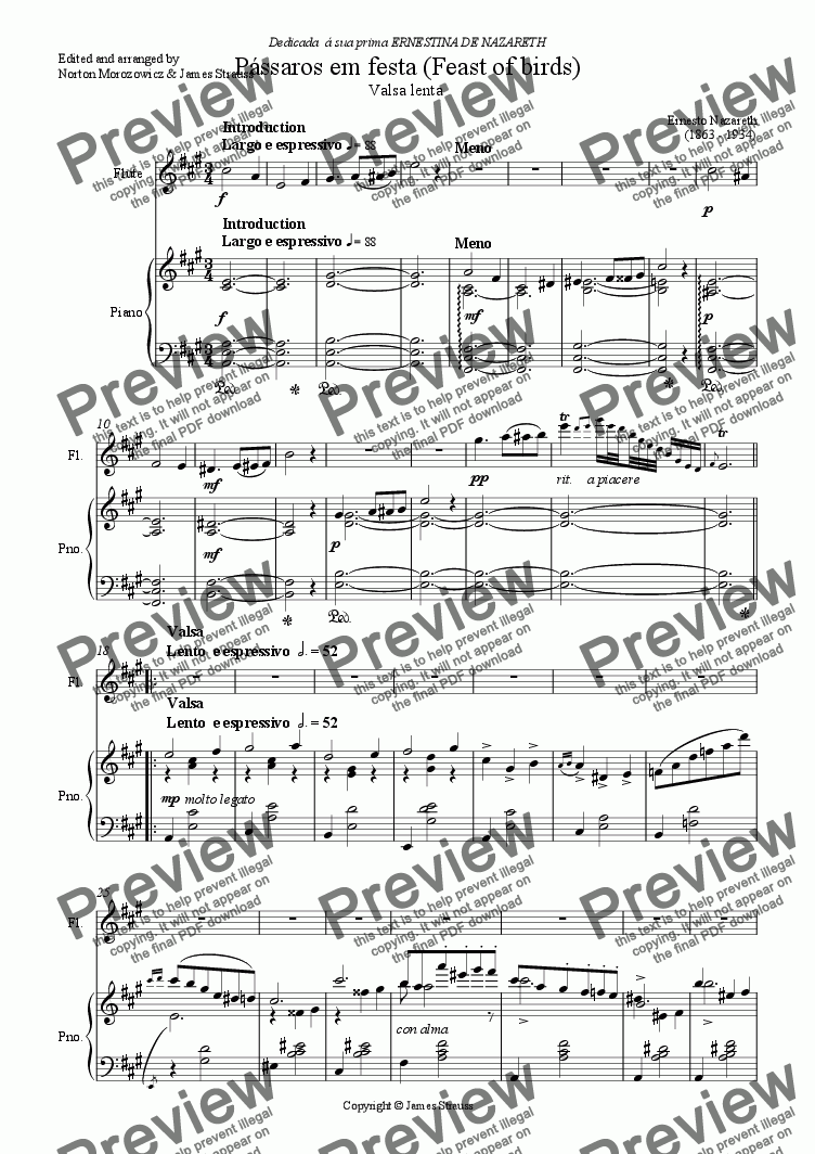 page one of the Flute part from P�ssaros em festa