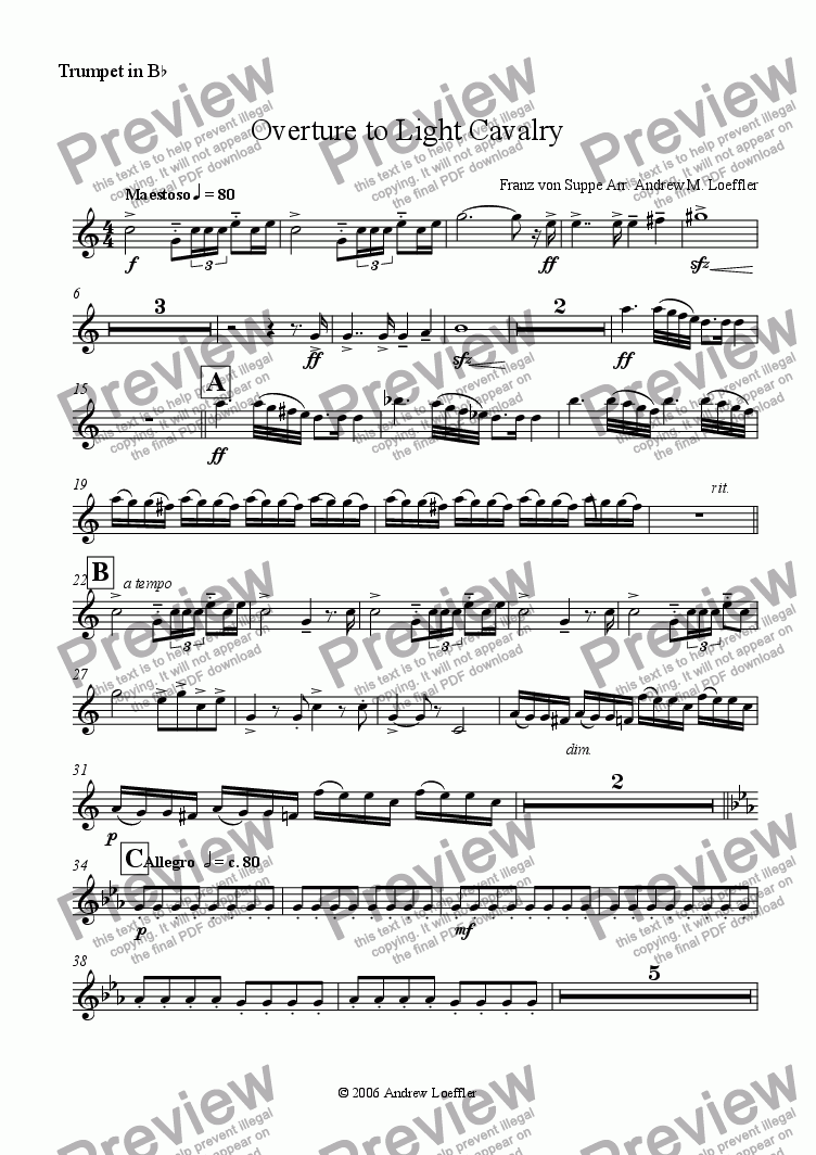 page one of the Trumpet 1 part from Overture to Light Cavalry