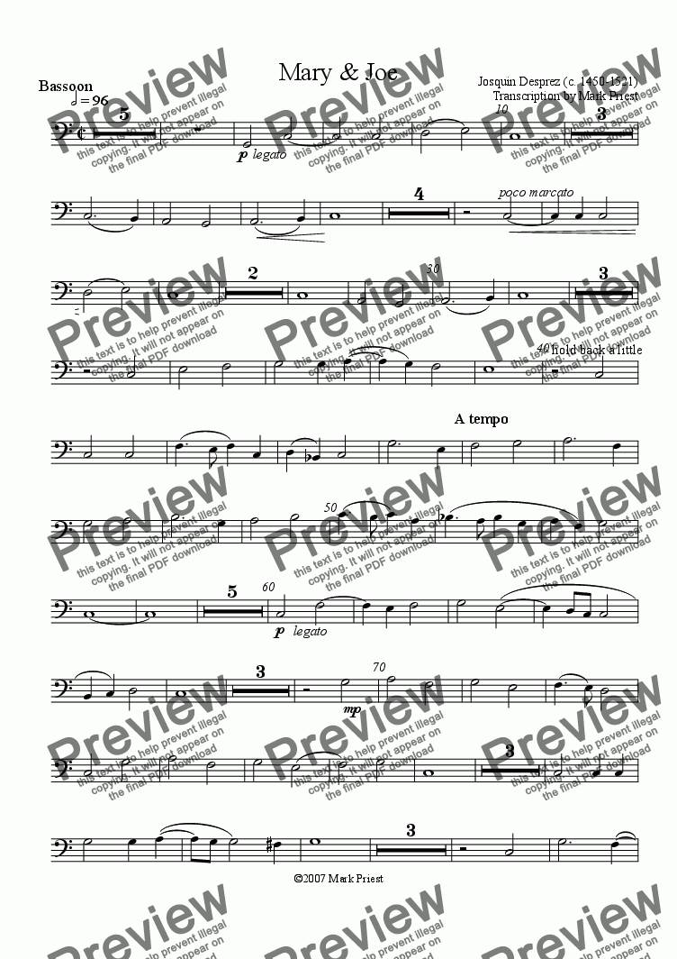 page one of the Bassoon part from Mary and Joe (for oboe, 2 saxes, & bassoon)