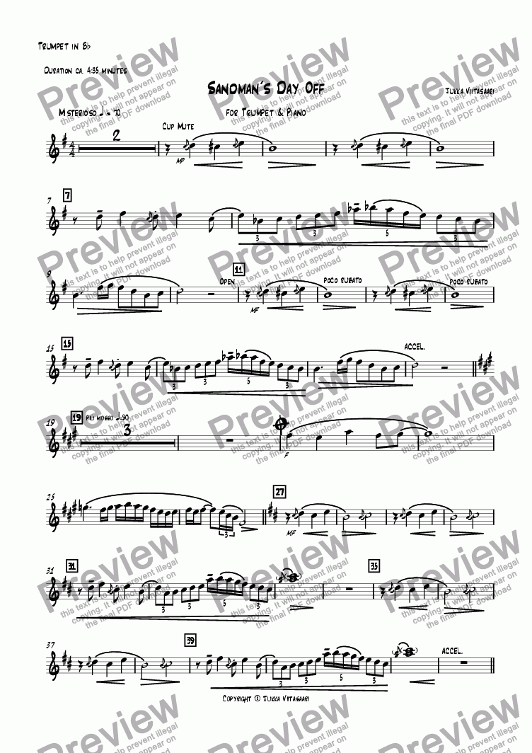 page one of the Piano part from Sandman´s Day Off (for Trumpet & Piano)