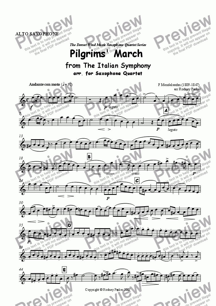 page one of the Alto Saxophone part from Pilgrims, March from The Italian Symphony arr. for Saxophone Quartet
