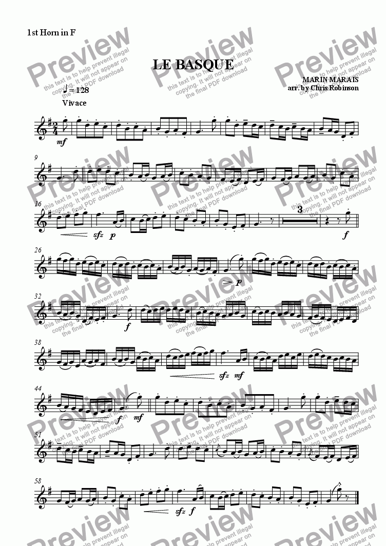 page one of the Horn 1 in F part from Le Basque - arranged for Horn Quartet