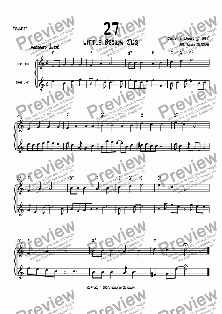 page one of the Trumpet part from Dixiechart 27. Little Brown Jug