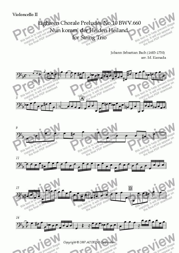 page one of the Violoncello II part from Eighteen Chorale Preludes No.10 BWV.660 Nun komm' der Heiden Heiland. for String Trio (Viola & 2 Cellos)
