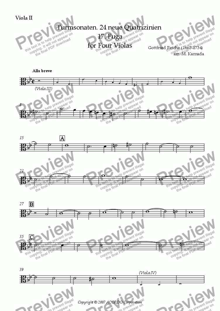 page one of the Viola II part from Turmsonaten. 24 neue Quatrizinien 17. Fuga for Four Violas
