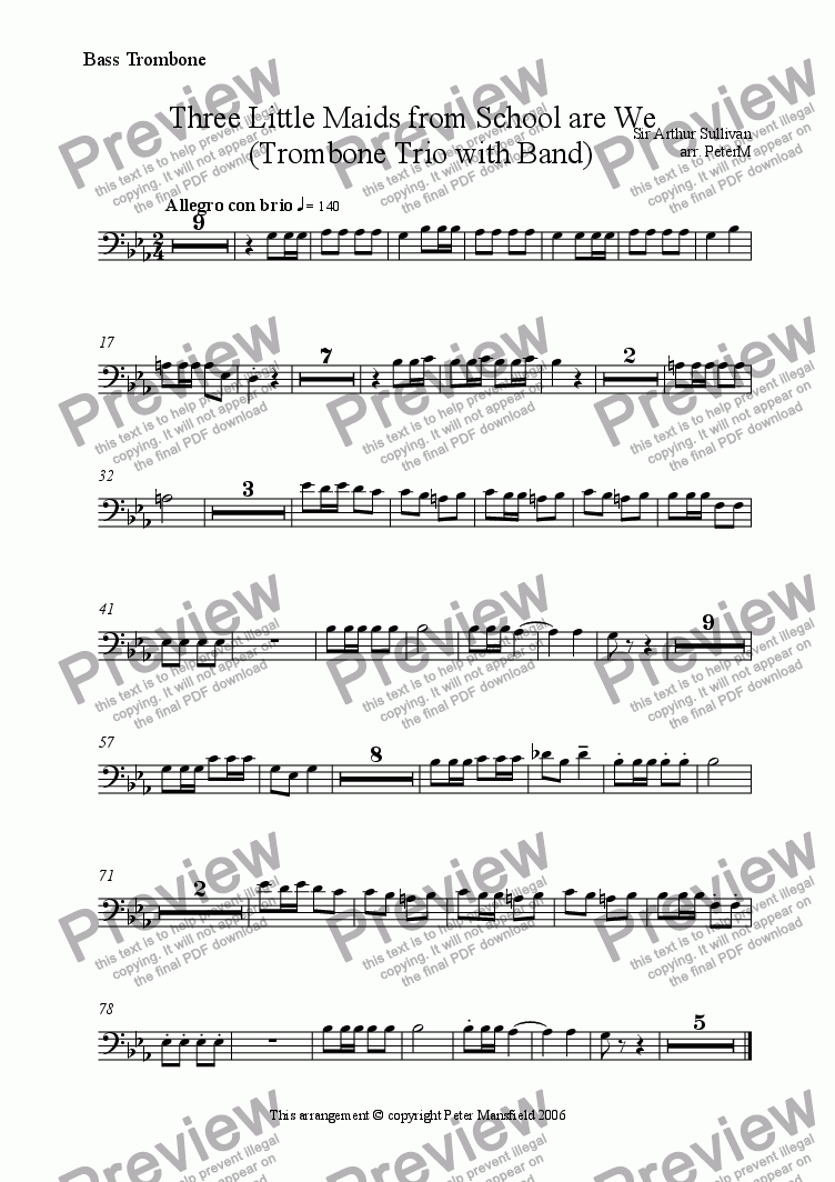 page one of the Bass Trombone part from 3 Little Maids from School