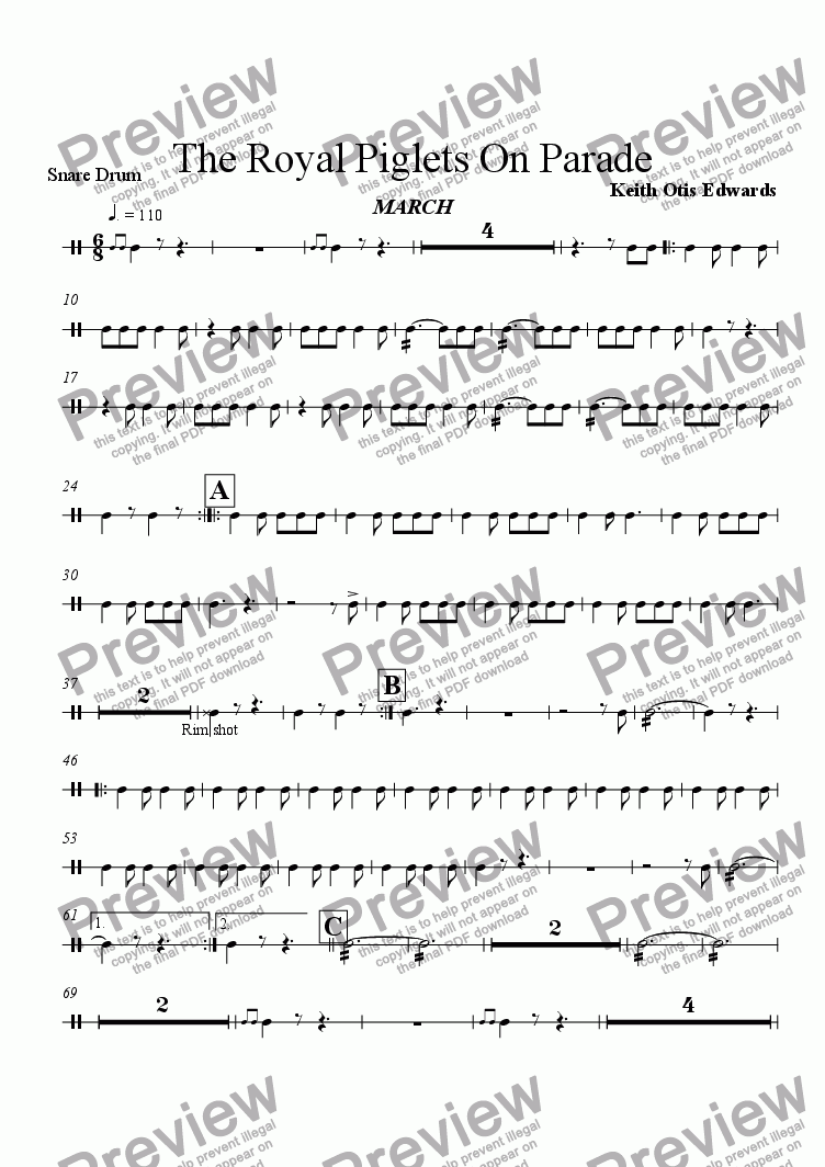 page one of the Snare Drum part from Royal Piglets On Parade (march)