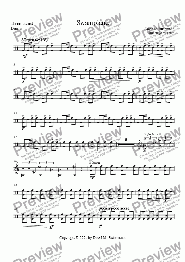 page one of the Three Tuned Drums part from Swampland (percussion ensemble)