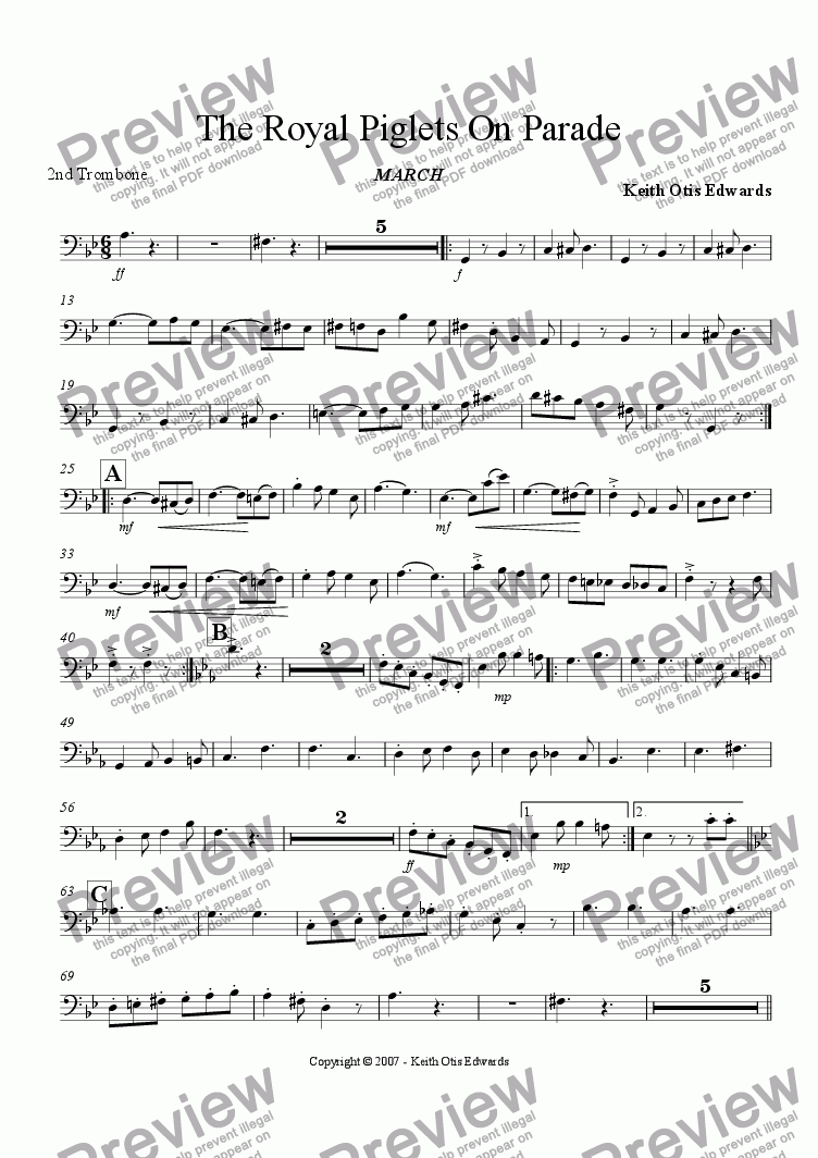 page one of the 2nd Trombone part from Royal Piglets On Parade (march)