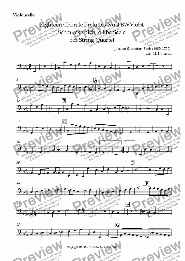 page one of the Violoncello part from Eighteen Chorale Preludes No.4 BWV.654  Schmucke dich, o libe Seele. for String Quartet (2 Violins, Viola & Cello)